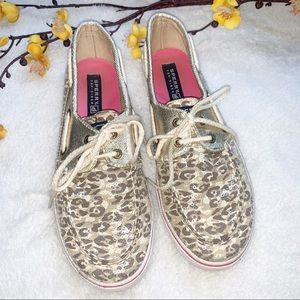 Sperry Shoes - SPERRY 4 Youth Topsiders Gold Camo Print Sequins